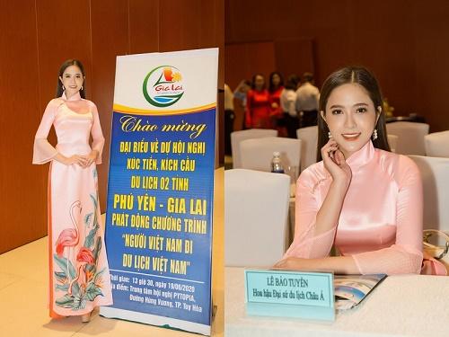 Tham gia hội nghị kích cầu du lịch, Lê Bảo Tuyền diện áo dài nền nã