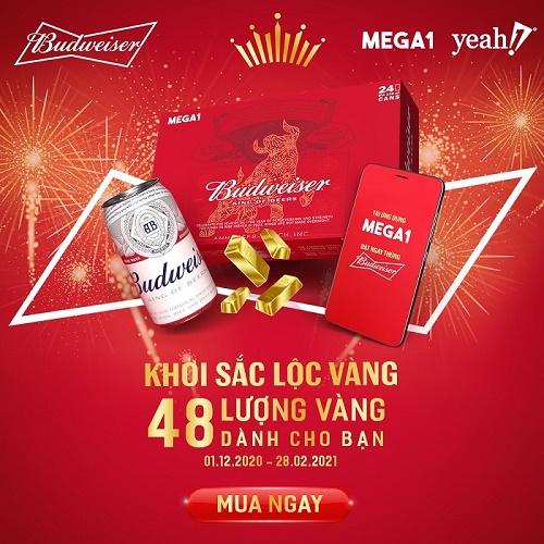 """Budweiser và Mega1 lần đầu kết hợp, bùng nổ khuyến mãi """"Khởi sắc lộc vàng"""" săn 48 lượng vàng"""