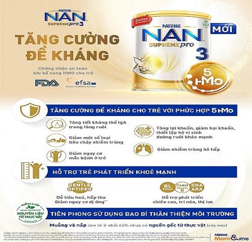 Nestlé Việt Nam ra mắt sản phẩm NAN SUPREME PRO 3 - Đột phá với 5 loại HMOs (2'-FL, DFL, LNT, 3'-SL và 6'-SL), giúp tăng cường đề kháng cho trẻ