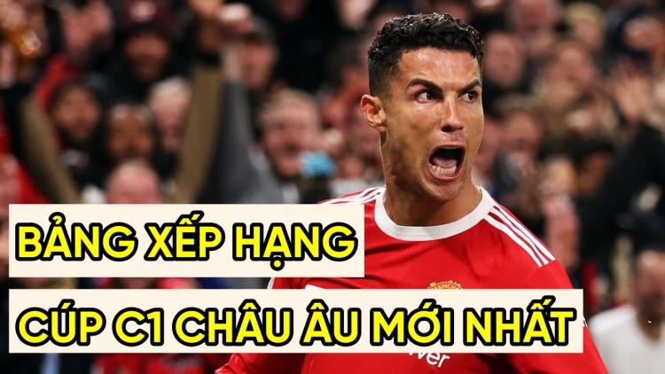 Bảng xếp hạng Cúp C1 châu Âu mới nhất: Ronaldo đưa MU lên đầu bảng